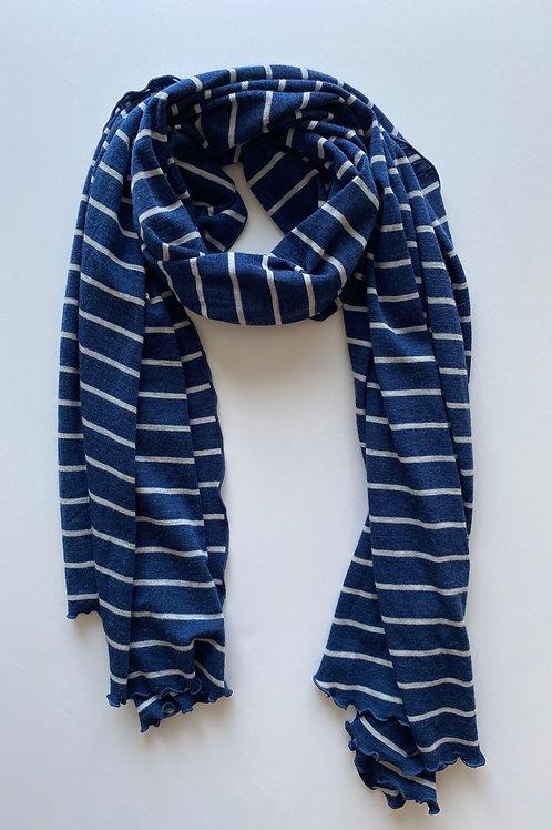 Merino Wool Scarf / Shawl in Navy & Grey Stripe (SLIGHTLY DAMAGED/GREAT PRICE)