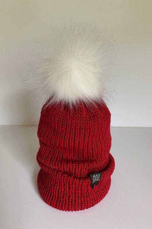 SANTA Pom Beanie - Christmas Red /White Pom