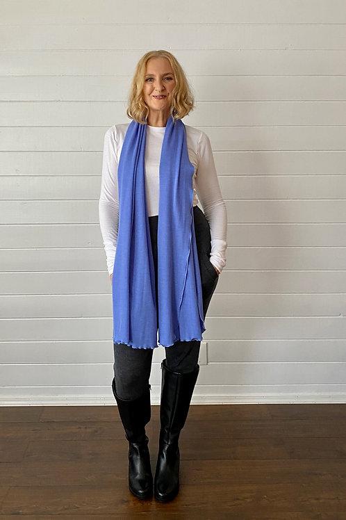 Merino Wool Scarf / Shawl in Denim Blue