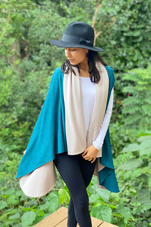 Double Merino Cardigan Wrap in Oatmeal and Teal Marl