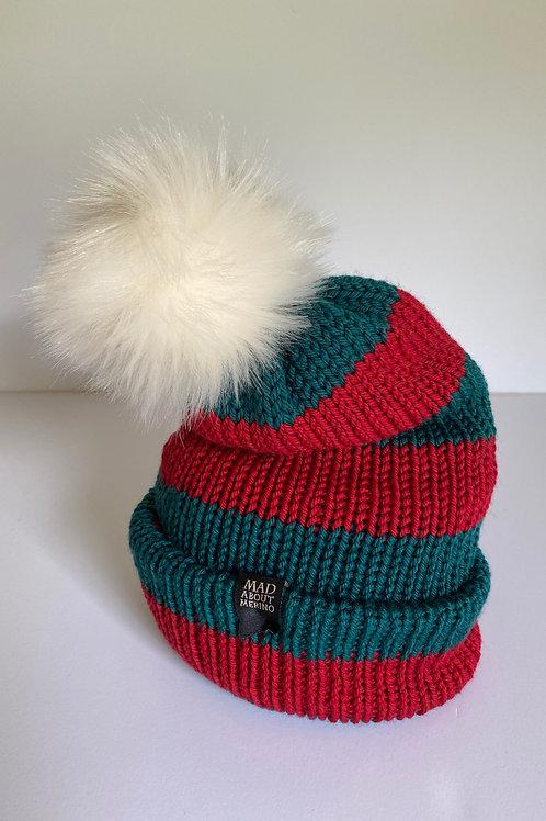 ELF Pom Beanie - Red & Green/White Pom
