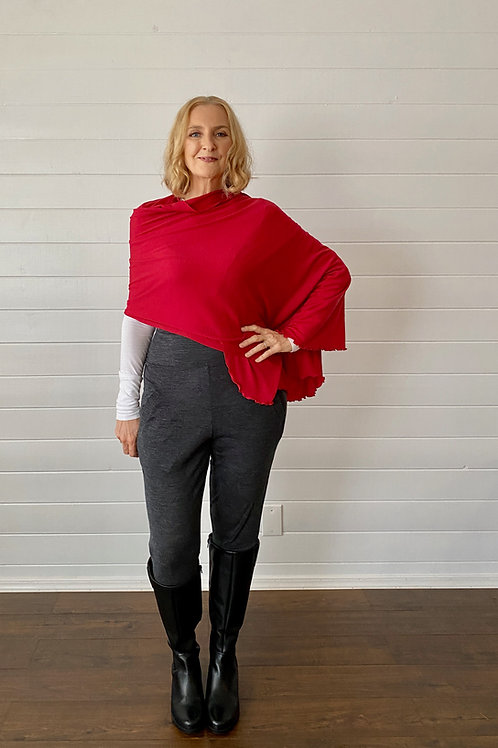 Merino Wool Scarf / Shawl in Bright Red