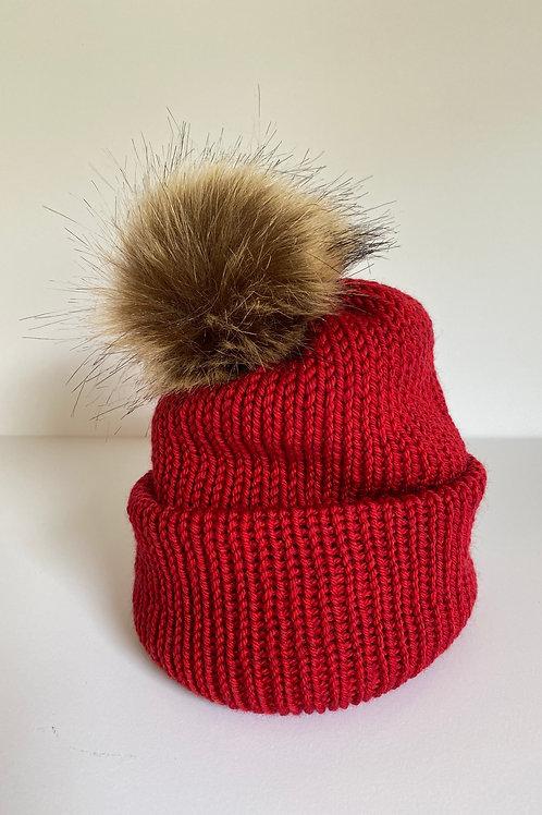 Pom Beanie - Christmas Red/Brown Pom