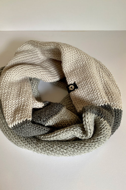 Infinity Scarf - Cream/Charcoal/Heather Grey
