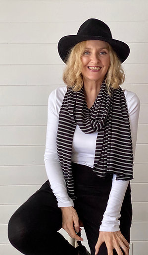 Merino Wool Scarf / Shawl in Black & Grey Stripe