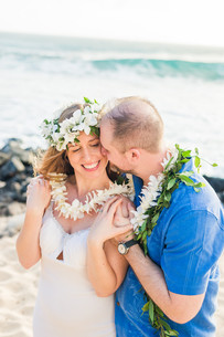 White Leis (#A) & Groom's Maile Lei