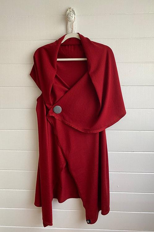 Merino Cardigan Wrap in Barn Red (Jersey Fabric)