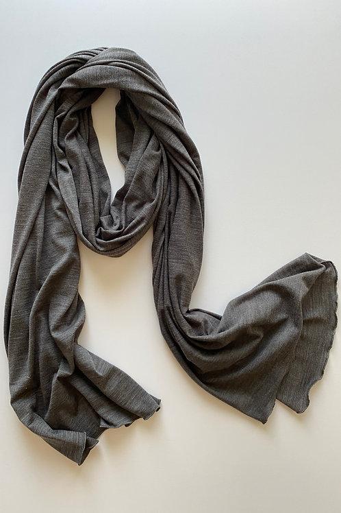 Merino Wool Scarf / Shawl in Grey Marl