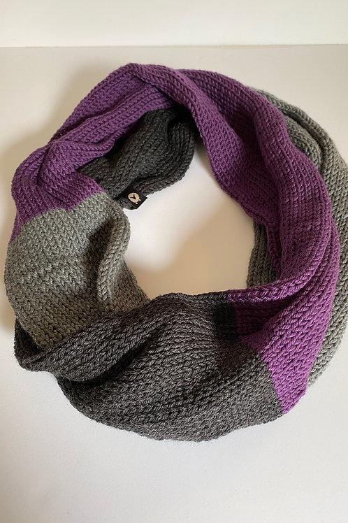 Infinity Scarf - Purple/Charcoal/Heather Grey
