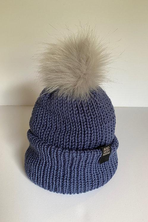 Pom Beanie - Slate Blue/Grey Frost Pom