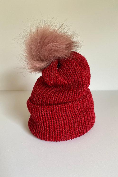 Pom Beanie - Christmas Red/Ruge Pink Pom
