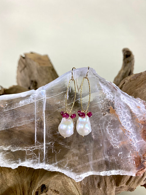 Gold Filled Ruby & Baroque Pearl Drop Earring