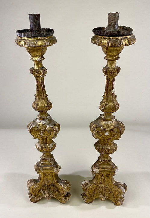 Pair 18th Italian Century Candle Sticks