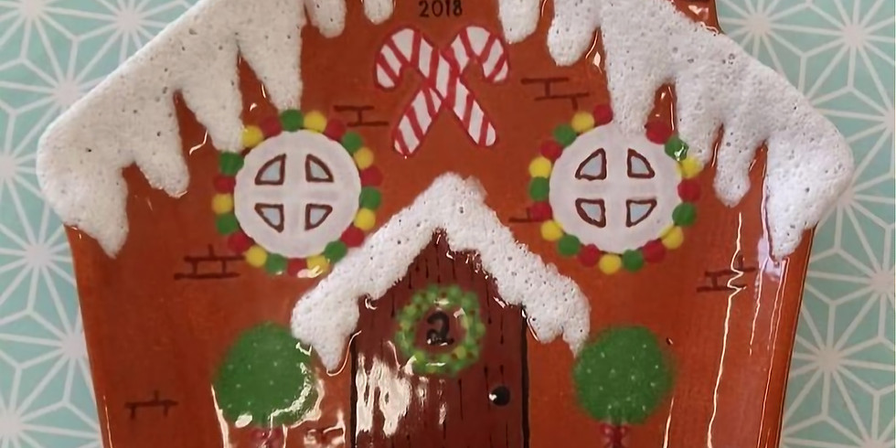 Learn to Paint: Gingerbread House Plate