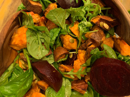 Sweet Potato, Spinach, and Arugula Salad with Apple Cider Vinegar Reduction Vinaigrette