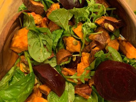 Sweet Potato, Spinach, and Arugula Salad with Apple Cider Vinegar Reduction Vinaigrette