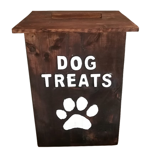 Tall Dark Stained Dog Treat Box