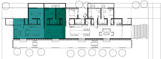 Phasing plan showing progression of adding a guest house, and later adding spaces to incorporate into the main house.