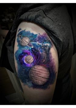 Dotwork planets watercolour nebula