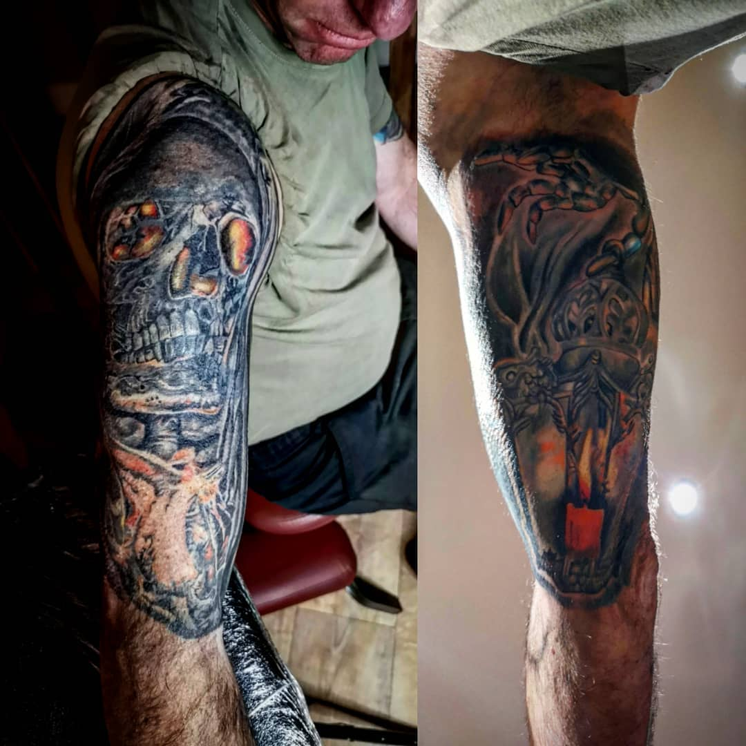 Grim reaper and lantern cover up
