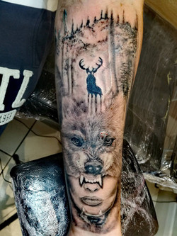 Girl, wolf and stag