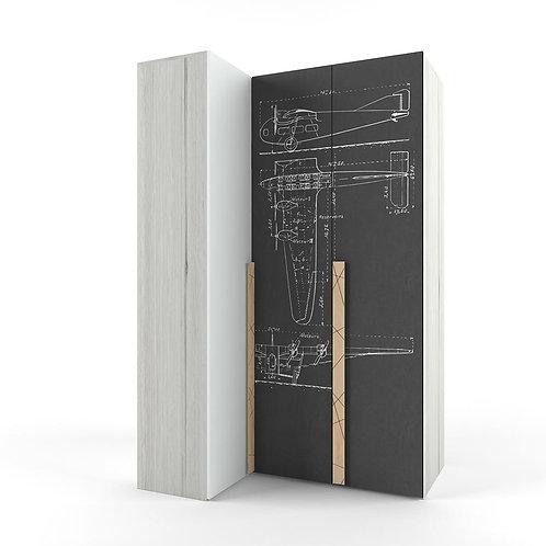 Шкаф угловой «Гармошка» с фотопечатью «Авиатор» «Ньютон Грэй»