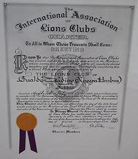 Certificato di nascita del Lions Club Gualdo Tadino