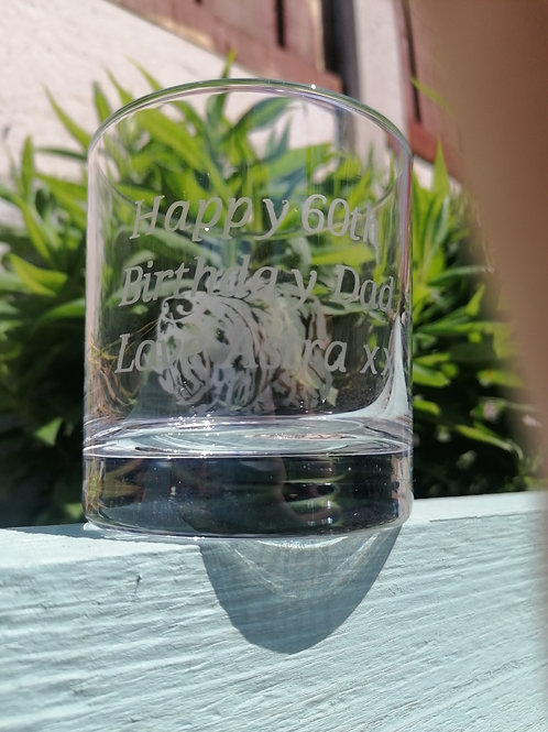 Hand-etched Small Tumbler Glass