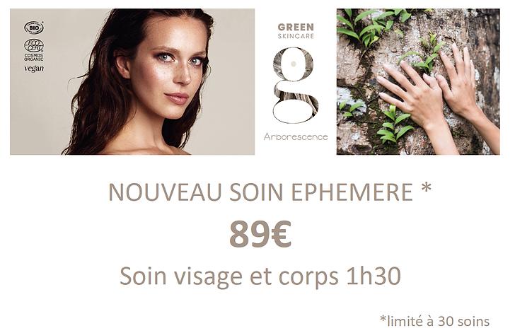Soin éphémère Green skin care juin 2021.