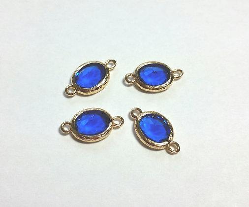 Verbinder, Glas Charm, blau-gold