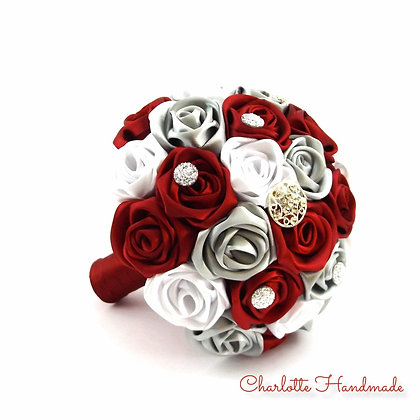 """Satin Ribbon Roses Bouquet - """"Mini"""" Blumenstrauß"""