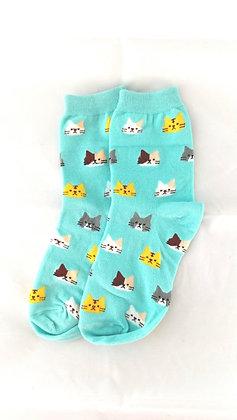 Socken mit Katzen Motiv, türkis