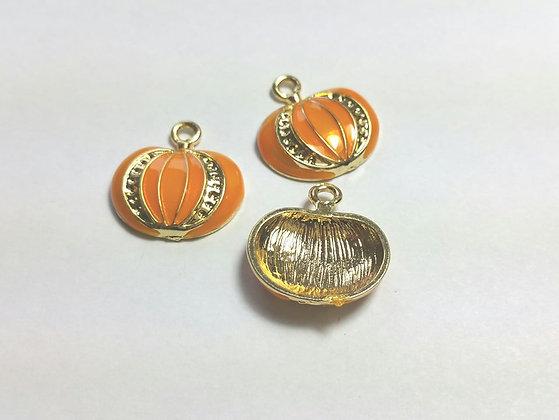 Anhänger, Kürbis, vergoldet orange