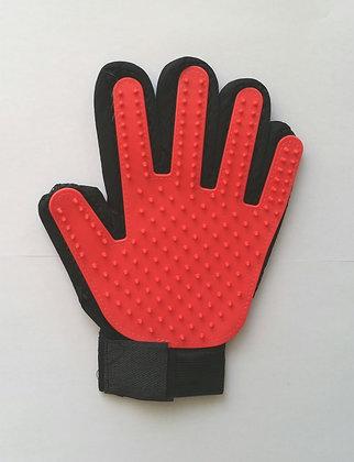 Fellpflege- Handschuhe, rot, linkshändig
