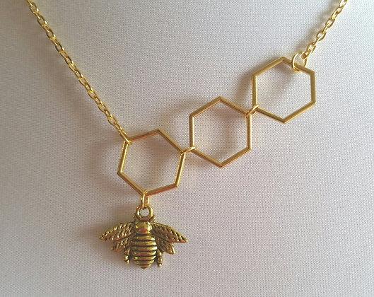 Halskette, Bienenwabe, 48 cm lang