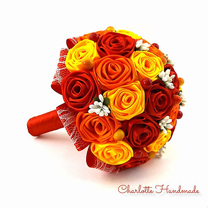 "Satin Ribbon Roses Bouquet - ""Medium"" Blumenstrauß"
