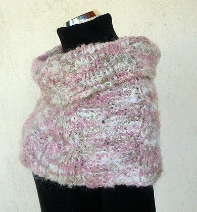 Kurzponcho, rosa-weiß