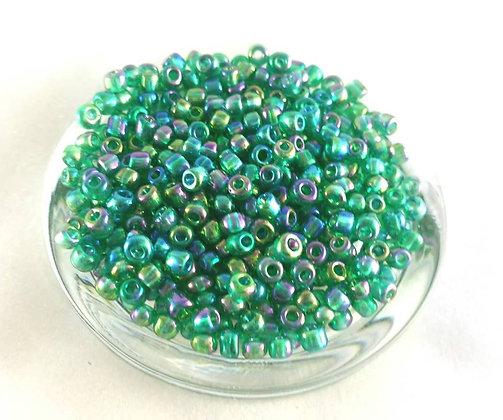 Glasperlen Rocailles, Green multicolor (50gr.)