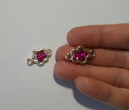 Verbinder, Blumenform DIY Kristall, pink