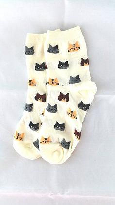 Socken mit Katzen Motiv, creme
