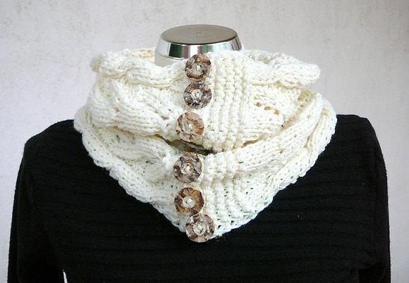 Rollkragen Schal, weiß