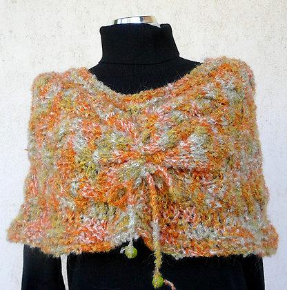 Kurzponcho, orange-grün