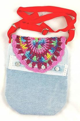 Tasche aus Jeans, lila-rot