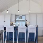 Bespoke hand painted in-frame kitchen.  Farrow & Ball paint colours: kitchen in Cornforth White, island in Stiffkey Blue