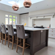 Bespoke hand painted in-frame kitchen. Farrow & Ball colours: kitchen in Dove Tale, island in London Clay