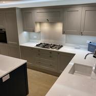 Mornington Shaker kitchen in Dove Grey and Hartforth Blue with Unistone Carrera Misterio quartz