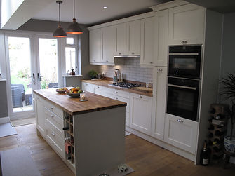 Shaker kitchen with solid oak tops