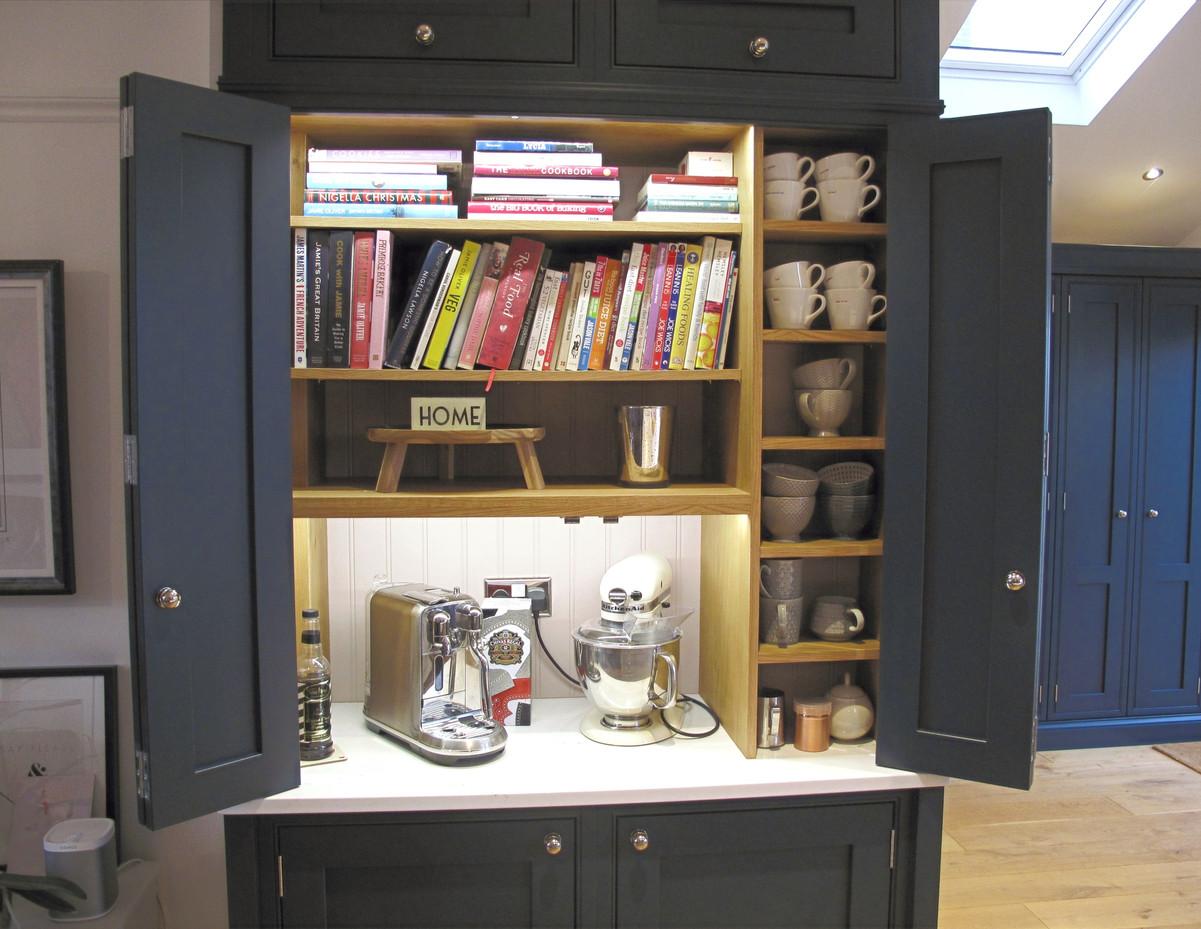 Bespoke dresser internals in oak veneer with sensor operated lighting