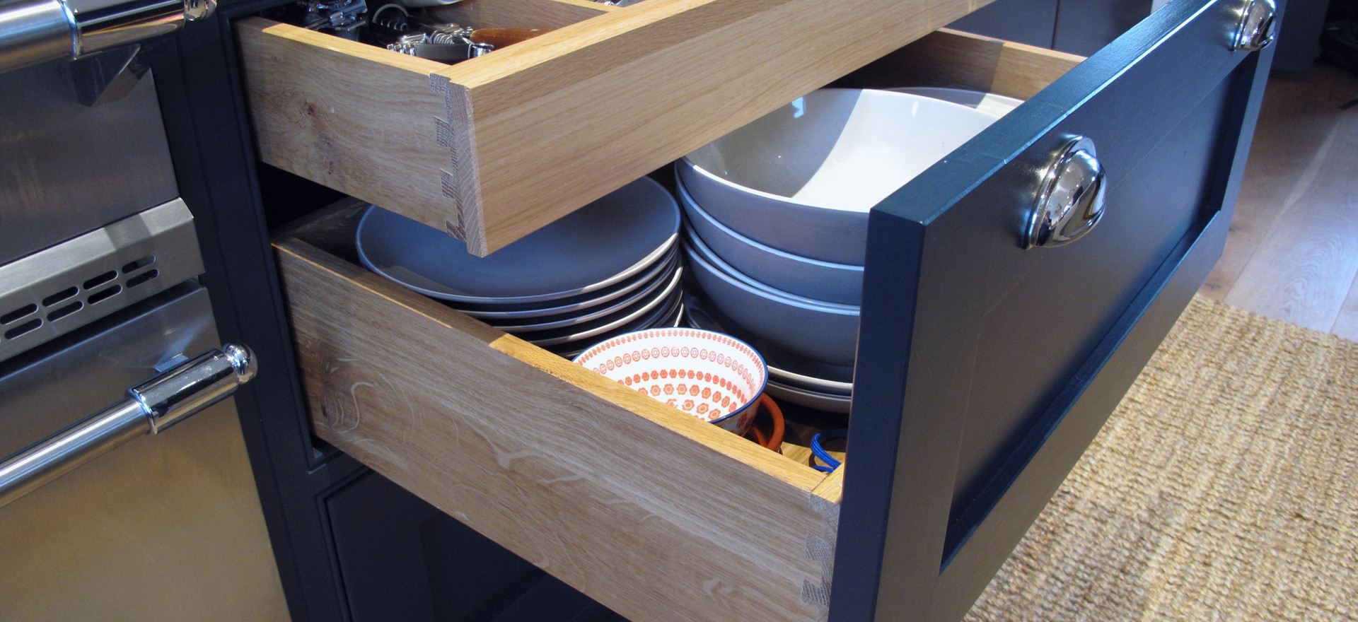 Solid oak dovetailed drawer boxes