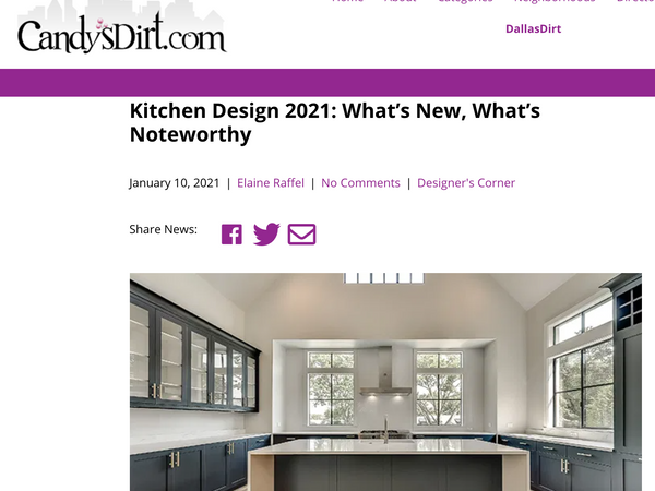 FEATURED IN CANDY'S DIRT: Kitchen Design 2021
